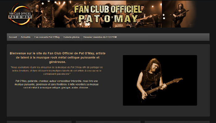 Fan Club Officiel Pat O'May - site web responsive