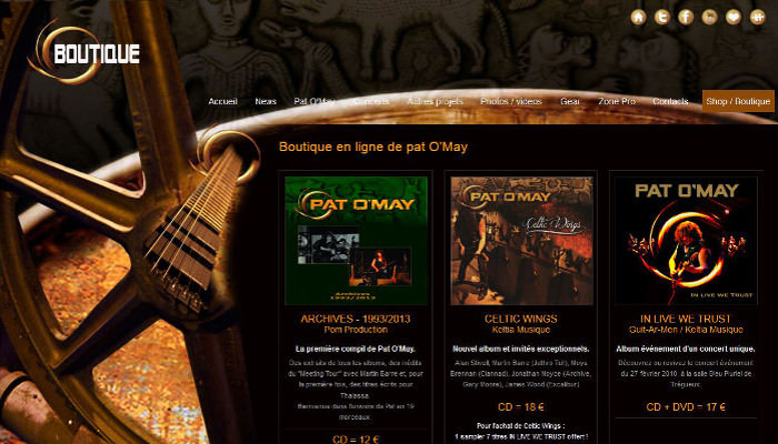 Boutique en ligne du site Web de Pat O'May